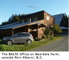 The BALTA Office on Beardale Farm, outside Port Alberni, BC.